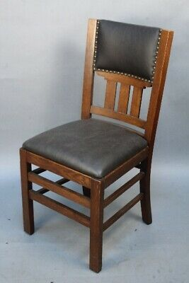 Antique Set Of 6 Arts And Crafts Mission Oak Dining Room Chairs (11903)