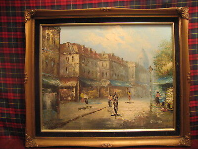 Oil Painting Of A Busy Shopping Parisian Street By Bernard Superb Oil /4049