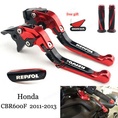 Fold Pivot Brake Clutch Levers And Grips For Respol CBR600F 2011-2013 Black Red
