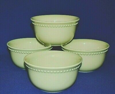 Pottery Barn Emma Set Of 4 Celadon Cereal / Soup Bowls Beaded Rim Discontinued