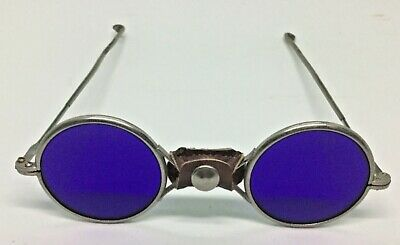 Antique welding/eclipse glasses cobalt blue glass with leather nose pad.