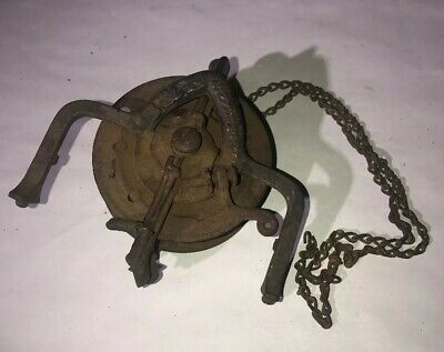 Victorian Bradley & Hubbard Oil Lamp Pulley Cast Iron w/ Retractable Chain c1886