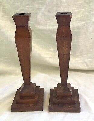 Pair of Oak Wood Mission Period/Arts & Crafts Candle Holders