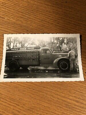 Vintage B&W Photo of Coca Cola Soda Delivery Truck And Man 3.5 X 6 In