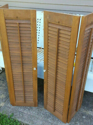 "Vtg Pair Colonial Wood Interior Louver Plantation Window Shutters 40"" Salvage"