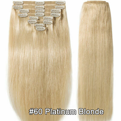 Extra Thick Straight Remy Clip In 100% Human Hair Extensions Full Head 22""