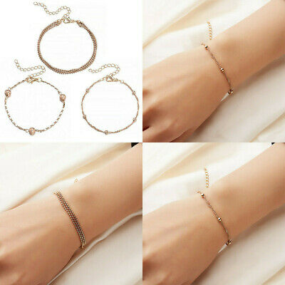 Fine Elegant Women Stainless Steel Charm Cuff Bracelet Bead Bangle Chain Jewelry