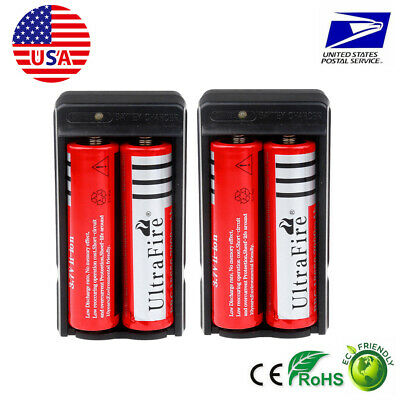 Ultrafire 4PC 18650 6000mAh 3.7v li-ion Rechargeable Battery and 2 slots charger