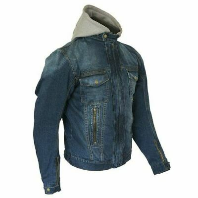 Merlin Blue Denim Motorcycle Jacket with hoodie reinforced with protective arami