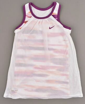 NIKE Girls' Kids' DRI-FIT Layered Top, White/Multicoloured, sizes 4 6 6-7 Years