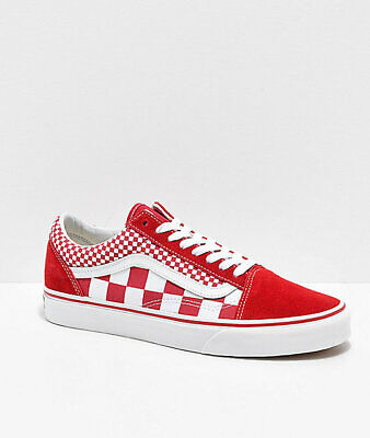 15f836b9d2c New Vans Old Skool Mix Checker Red White Checkerboard Skate Shoe Womens