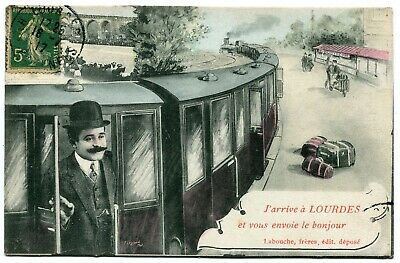 CPA - Carte Postale - France - J'arrive à Lourdes - Train - 1917 (C8638)