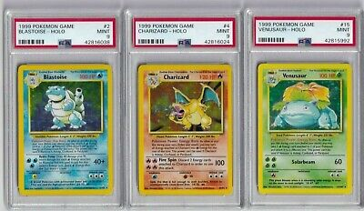 Psa 9 Pokemon Cards English Charizard Venusaur Blastoise X3 Base Set 1999 /102