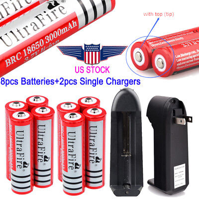 4/8x 3000mAh 18650 Battery 3.7v Li-ion Rechargeable Batteries For Torch +Charger