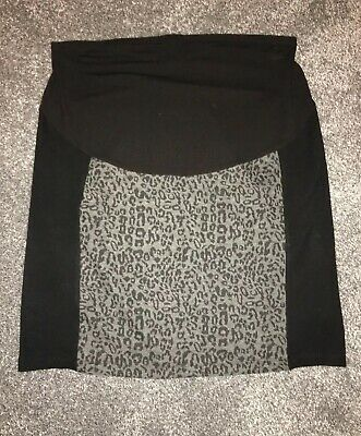 Black Grey Leopard Print Short Maternity Skirt Next Size 14