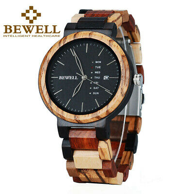 BEWELL Colorful Mens Wood Watches Day/Week Display Quartz Wooden Watch for Men