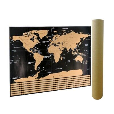 Scratch Off Map Of The World Travel Map Poster Gold Foil With Country Flags UK