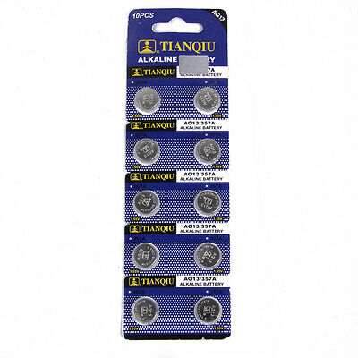 Lot of 10PCS AG13 LR44 SR44 LR1154 357A A76 357 SR44SW Alkaline Watch Battery