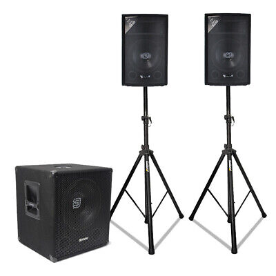 Powered DJ Party Speaker Pack PA System 15-Inch 600W Subwoofer w/ MP3 + BT