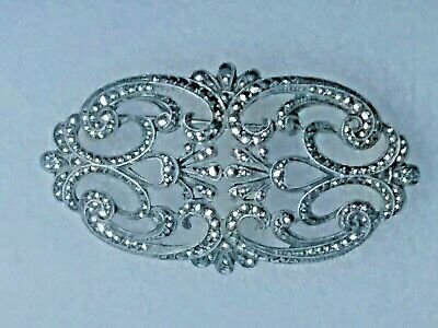 Antique Art Deco Large Sterling Silver Marcasite Stone Brooch