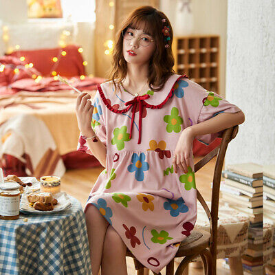 Womens Plus Size Short Sleeve Cotton Nightgown Sleep Dress Summer Homewear Night