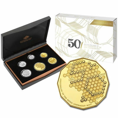 2015 AUSTRALIA 50th ANNIVERSARY of RAM PROOF COIN SET w/GOLD PLATED 50c CENT 🌟