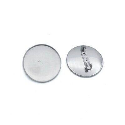 10 x Stainless Steel 25mm Round Cabochon Brooch Settings