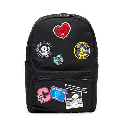 BTS BT21 Black Waffen Backpack Official Authentic Goods Bag Bangtan Boys ARMY