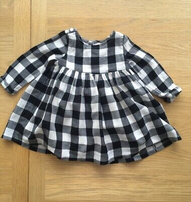 NEXT Baby Girl Check Black/Navy Blue And White Dress 6-9 Months
