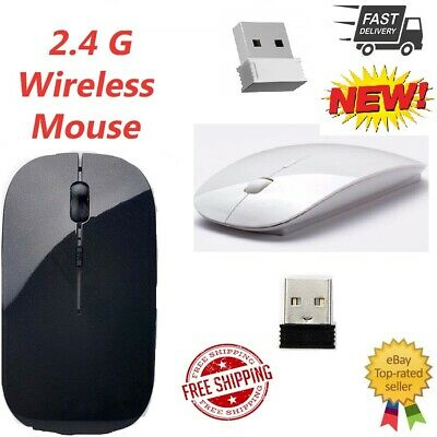 2.4Ghz Slim Optical Sensor Wireless Mouse + USB Receiver For Laptop,PC,Mac,OS CA