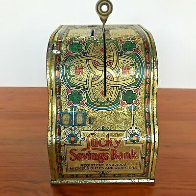 Vintage Lucky Savings Coin Bank Old Metal Toy Mechanical Cash Register Works