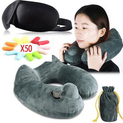 Carry Inflatable Support Soft Rest Neck Cushion Head U Shaped Air Pillow Flight