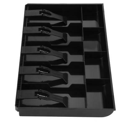 Five Grids Cash Drawer Register Insert Coin Tray Tidy Storage Safe Box (Black) a