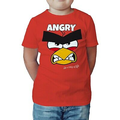 ANGRY BIRDS RED TEXT ANGRY OFFICIAL KID'S T-SHIRT (RED) - 5-6 years old