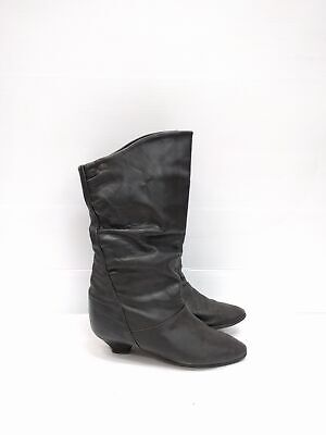 Size 6 Vintage Ladies Black 80s Rock Grunge Slouch Leather boots