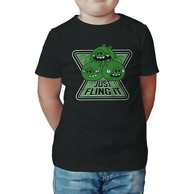 Angry Birds Kid's Pigs Minions Text Fling T-Shirt- 5-6 years old - Sample sale