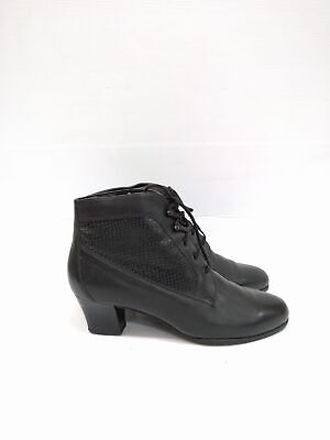 Size 8 Vintage Ladies Rock Grunge Dancing Black lace up leather ankle boots