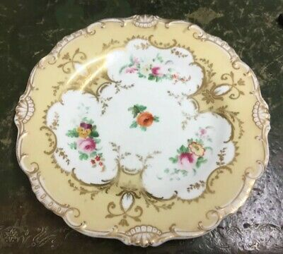 Early 19th Century Antique Hand Painted & Gilded Floral Study Cabinet Plate