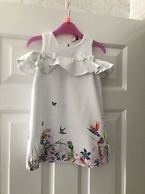Beautiful Ted Baker Girls Dress 18-24 Months With Frill Off Shoulder White Oasis
