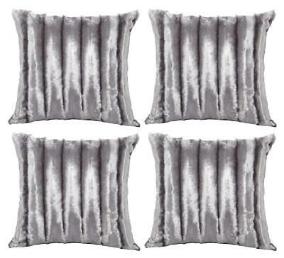 "Set of 4 Grey Silver Luxury Soft Faux Fur Cushion Covers 18"" or Large 22"""