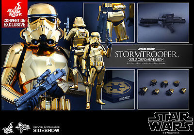 """Hot Toys Star Wars: Stormtrooper Gold Chrome 12"""" 1/6 Figure (Mms364) Brand New!"""