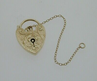 9ct Gold Heart Padlock Clasp Filigree Engraved Design 2g Safety Chain 1968