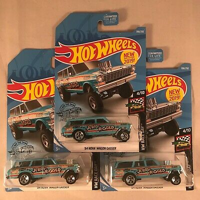 2019 - Hot Wheels NEW '64 Nova Wagon Gasser JERRY RIGGED - Case K - Lot of 3