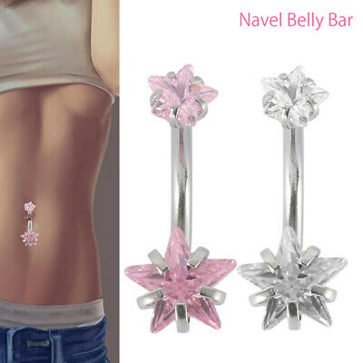 Belly Bar Surgical Steel Double Crystal Gem Navel Bar Ring Piercing Belly Bars