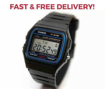 New Genuine Casio F91W Classic Digital RETRO Sports Alarm Stopwatch Black