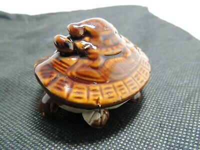 USSR Bobble Head Porcelain Turtle Figurine 2 Babys Feng Shui happiness amulet
