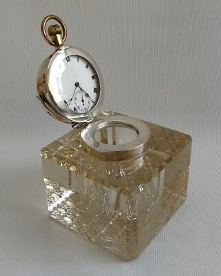 Vtg 1905 John Grinsell & Sons Solid Silver Cut Glass Inkwell Cyma Pocket Watch