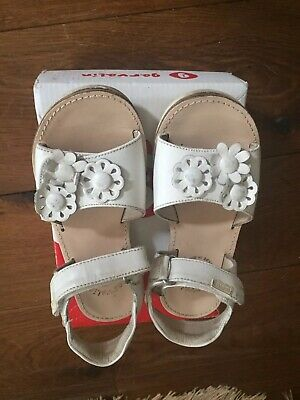Girls White Leather  Spanish Sandals By Garvalin  Worn Once ! Size 10 Uk Eu 28