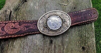 1922 Peace Silver Dollar Coin Western Cowboy Vintage Belt Buckle