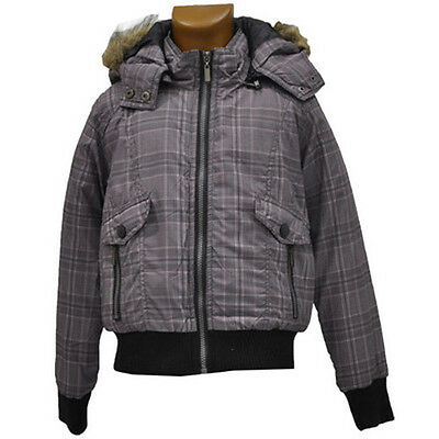 Girls Brave Soul Pink/Purple/Grey Canvas Jacket with Fur Trim Hood 7-13 Years